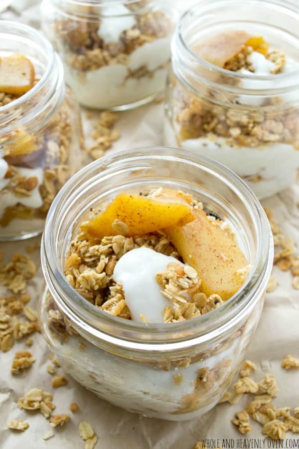 Caramelized Apple Granola Breakfast Parfaits --- Put a fun fall twist on your breakfast with these luscious layered granola parfaits!