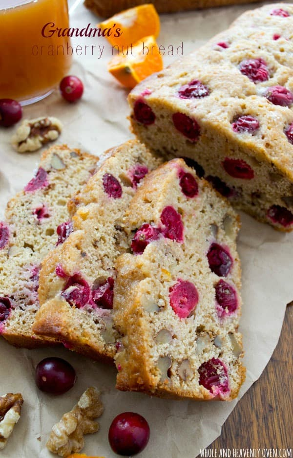 This is my grandma's prized cranberry bread recipe!  Lightly flavored with orange, incredibly soft inside and studded with tart cranberries and crunchy walnuts, it's definitely a keeper holiday treat!