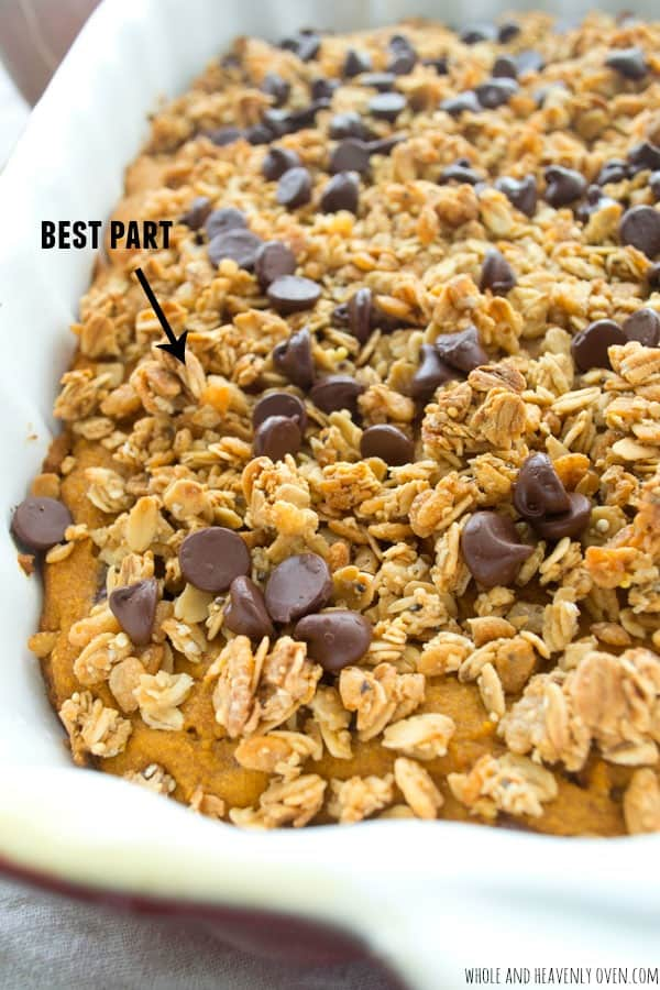 You'll savor every bite of this luscious-soft pumpkin coffee cake that's loaded with gooey chocolate chips and topped with a crunchy granola streusel! @WholeHeavenly