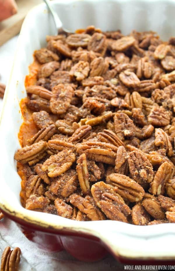 Looking for that perfect sweet potato dish to bring to your Thanksgiving gathering? Look no further than this simple pecan streusel-covered sweet potato casserole---It's been a family-favorite for years! @WholeHeavenly