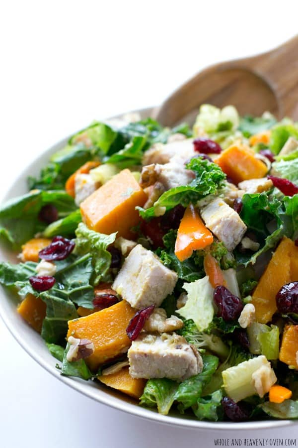 Loaded with butternut squash cubes and lots of turkey, this hearty tossed salad is just as delicious as it is healthy! @WholeHeavenly