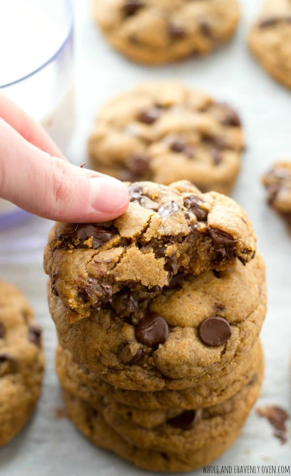 These classic chocolate chip cookies are so thick and chewy you'd never guess that they're made healthy with coconut oil and contain NO butter! @WholeHeavenly