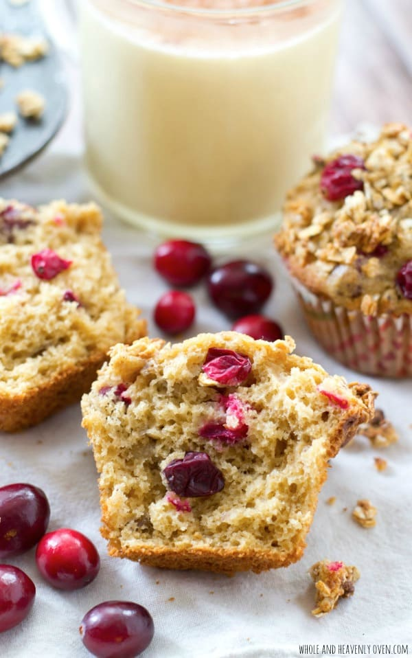 Loaded with tart cranberries and generously topped with a heavenly granola streusel, these soft holiday muffins get their amazing coffee cake-like texture from a special ingredient: Eggnog! @WholeHeavenly