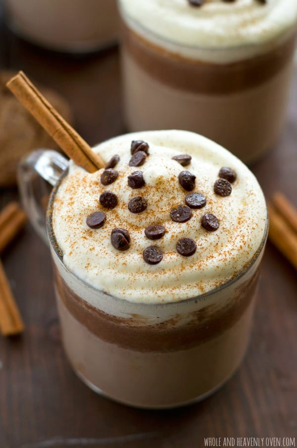 Chase away the winter chill with this fun twist on hot chocolate that combines eggnog and gingerbread flavors into one unbelievably-cozy sipper! @WholeHeavenly