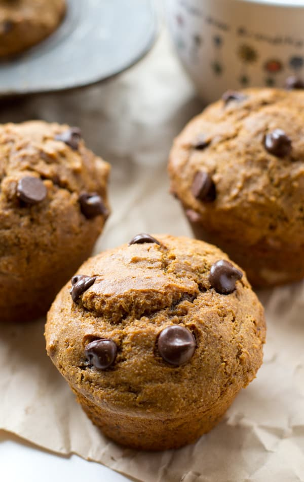 Supremely moist and filled with gingerbread flavors and melty chocolate, these fun-sized muffins are definitely the ultimate treat to wake up to! @WholeHeavenly