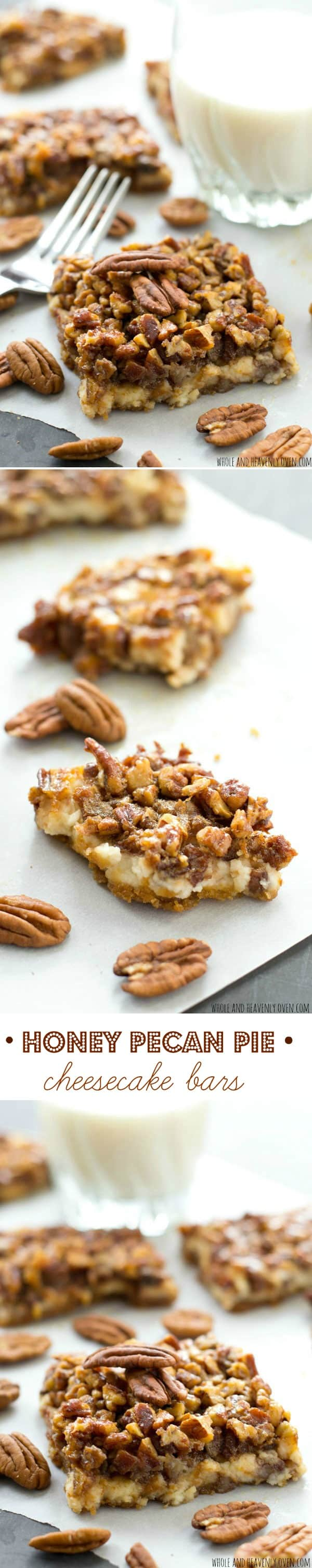 Cheesecake and honey pecan pie collide in these luscious three-layered bars---they make a perfect addition to any cookie tray! @WholeHeavenly