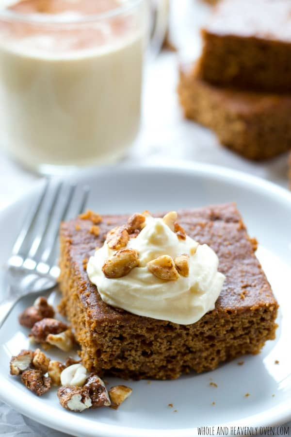 Moist, old-fashioned gingerbread is a must around the holidays! This simple cake is heavenly warm with whipped cream and chopped candied nuts on top.  @WholeHeavenly