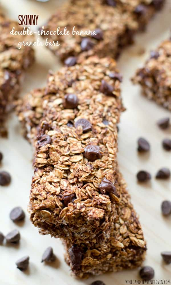 These soft, chewy granola bars are so loaded with banana flavors and a double-delight of chocolate, you would never guess they're on the healthy side! @WholeHeavenly