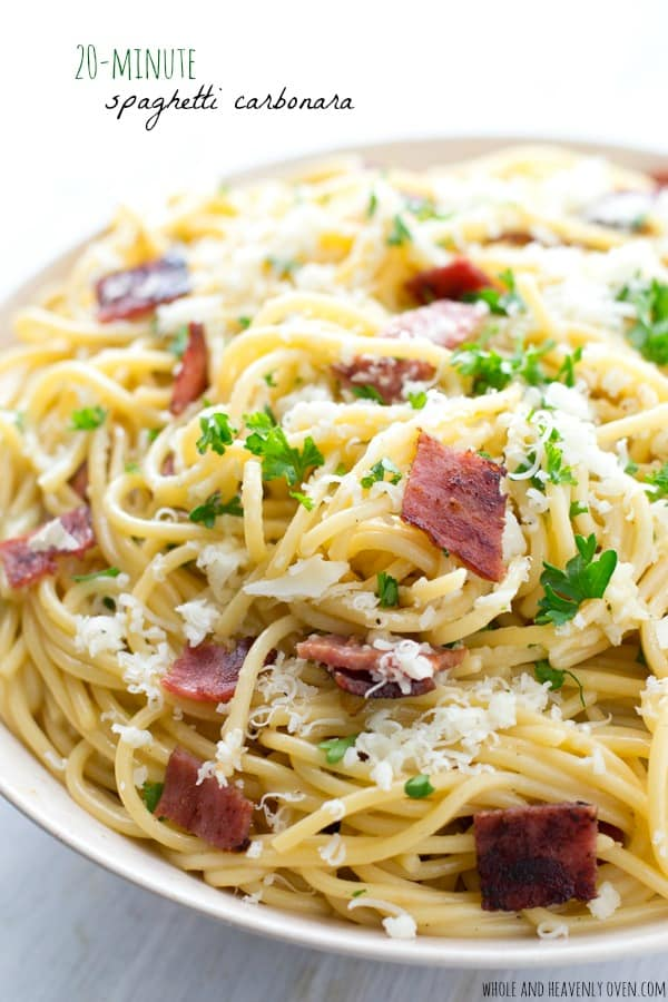 This traditional spaghetti carbonara is rich, creamy and loaded with lots of crispy bacon and nutty Parmesan.--- It's on the table in only 20 minutes! @WholeHeavenly
