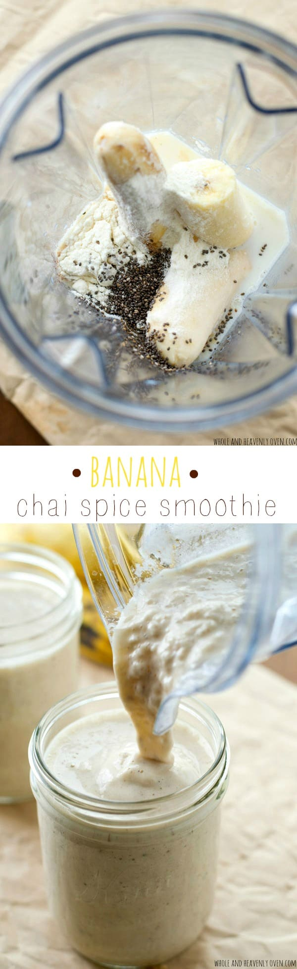 Super-creamy and loaded with banana and chai flavors, these luscious smoothies are a perfect post-workout energy boost! @WholeHeavenly