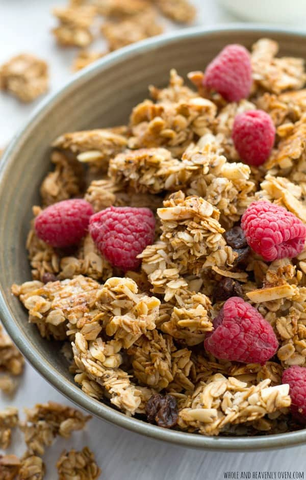 Learn all the secrets to making perfect large-cluster granola with this easy recipe! Perfectly huge and crunchy granola clusters with lots of almond flavor.