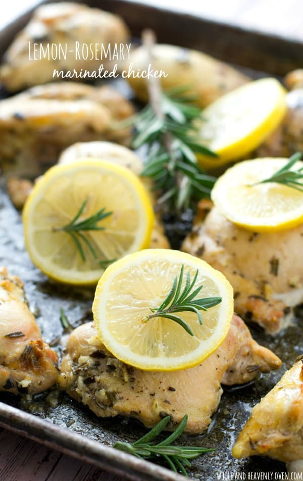 This marinated chicken may be simple, but it packs plenty of luscious lemon-rosemary flavors! It's easy enough for a weeknight dinner, but still fancy enough for a special occasion. @WholeHeavenly