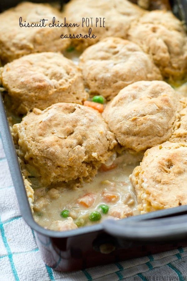 Enjoy a heartwarming homemade chicken pot pie without all the hassle with this easy, comforting casserole that's on the dinner table in less than 45 minutes! @WholeHeavenly