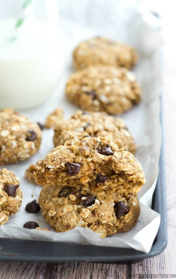 Jam-packed with peanut butter, banana, gooey chocolate and lots of other goodies, these loaded, ultra-chewy oatmeal cookies are sure to become a cookie jar staple! @WholeHeavenly