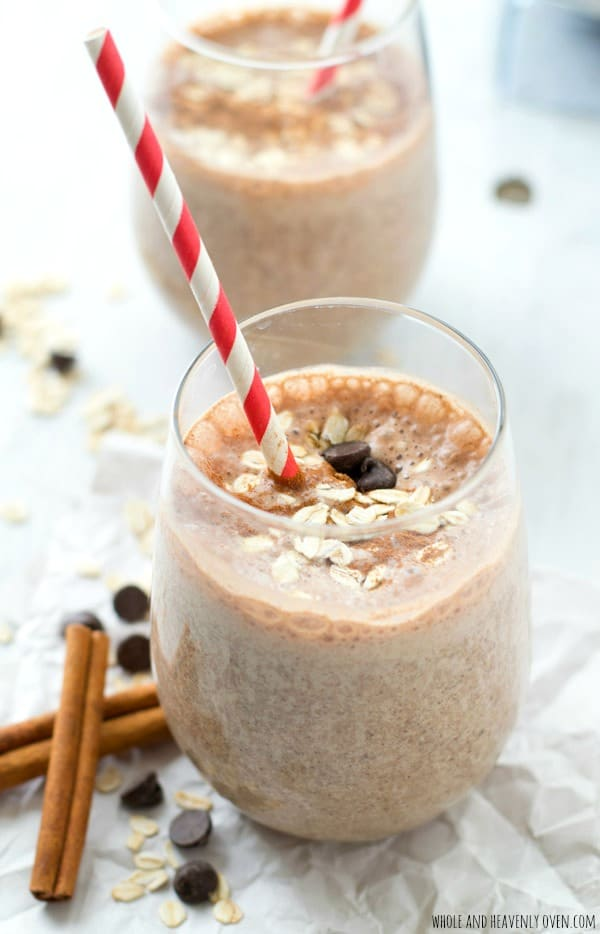 Super-creamy and loaded with a trio of cinnamon, chocolate, and oats, this filling breakfast smoothie is a sweet lighter breakfast indulgence and terrific energy boost!