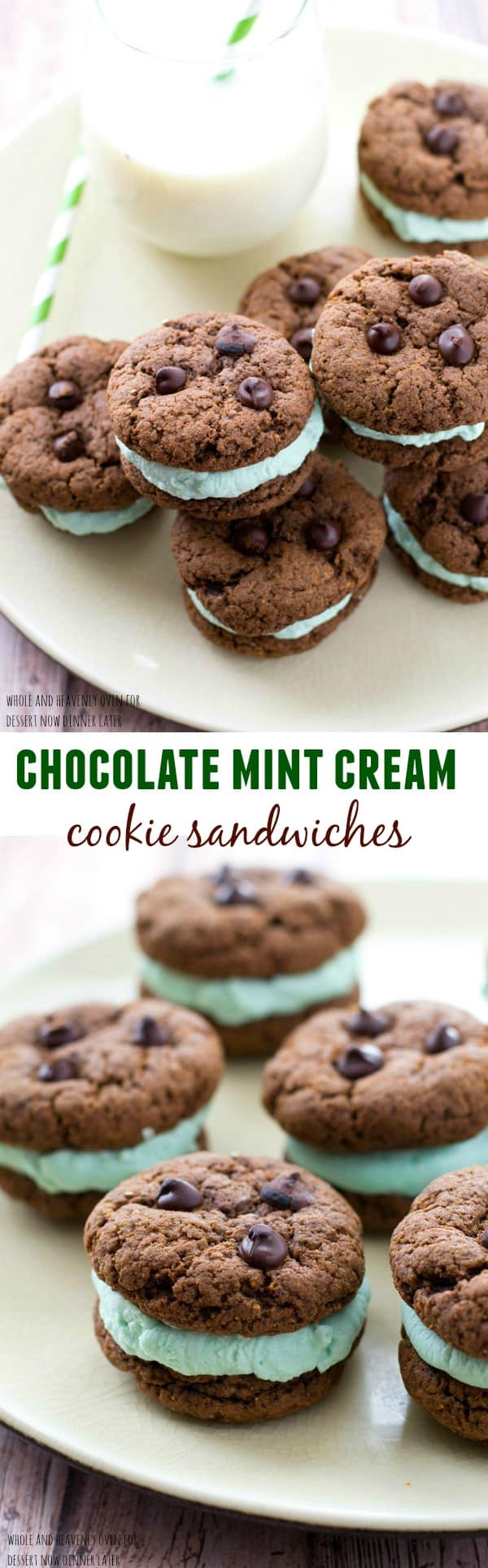 These festive cookie sandwiches are so simple to prepare, yet they're so much fun to eat! A fresh minty coconut cream sandwiched between two double-chocolate cookies is a match made in heaven.