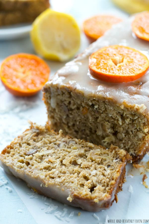 This soft banana bread is loaded with tons of tropical flavors and a quick citrus glaze just takes it over the top! @WholeHeavenly