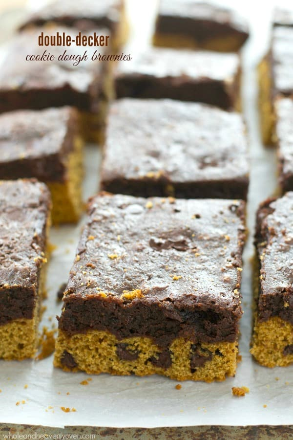 These thick layered brownies have a double-delight of both chocolate chip cookie dough and brownie batter.---You'll fall in love at first bite! @WholeHeavenly