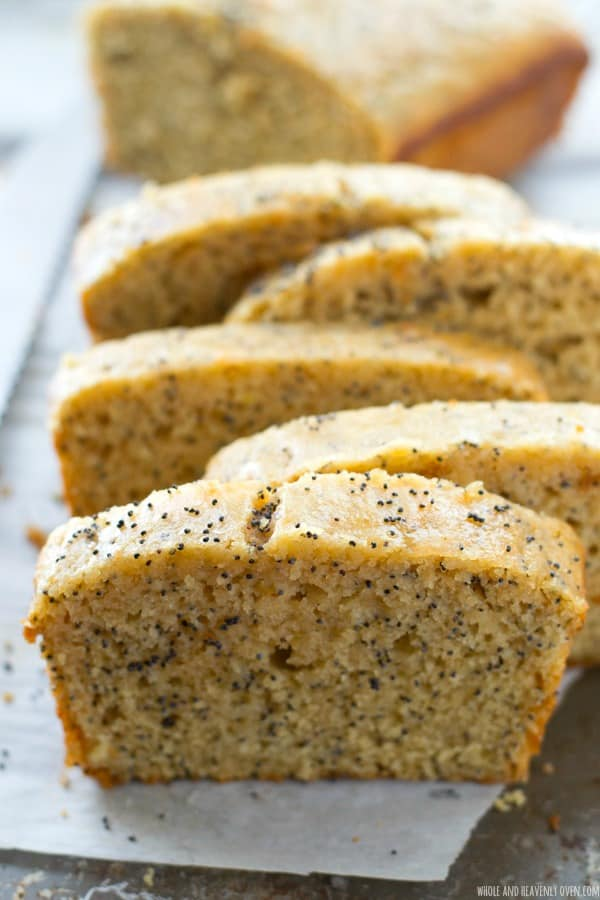 Supremely-moist inside and loaded with lemon and poppyseeds, this stunning quick bread is a perfect springtime treat. The sweet lemon-y glaze on the outside is unbelievable! @WholeHeavenly