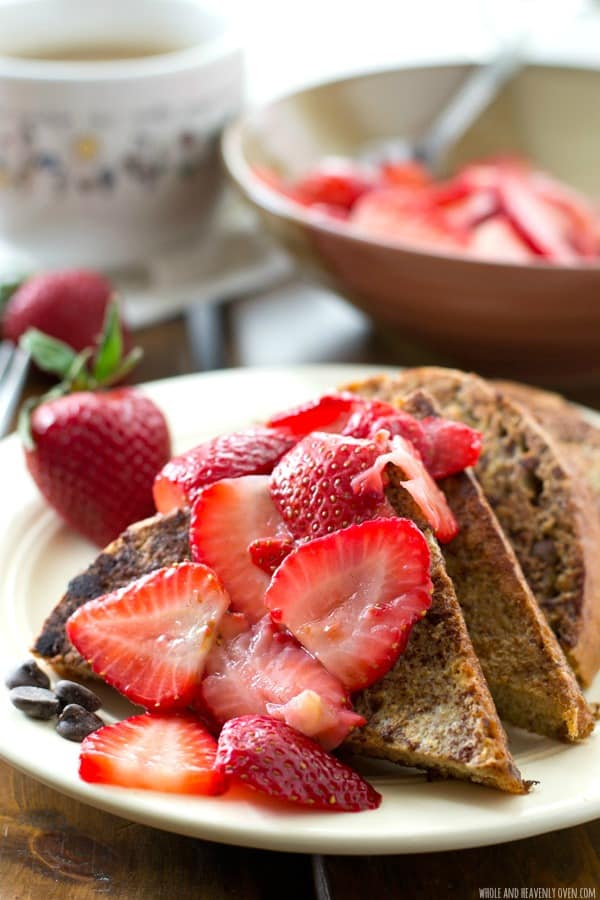 This stunning french toast is a mocha-lover's dream! Hot off the griddle and served with a sweet mashed strawberry sauce, it's perfect for a simple weekend brunch.