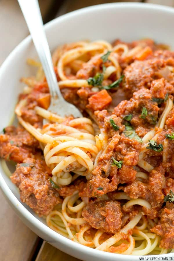 This slow-cooked Italian-style beef bolognese is so packed full of flavor, you'll think you're eating in a fancy Italian restaurant! It'll be our little secret how easy it was to make. @WholeHeavenly