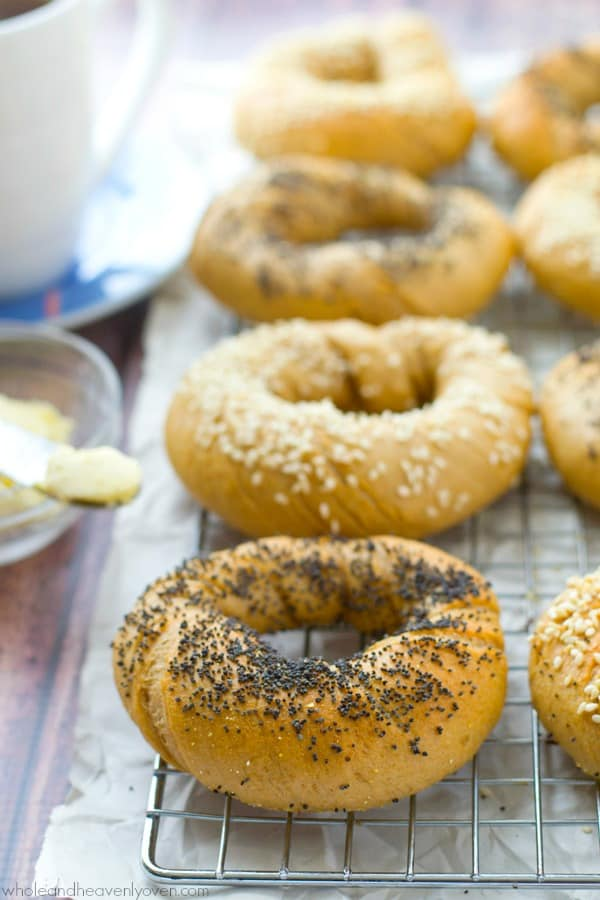 Skip the bagel-run on busy mornings and instead whip up a batch of these simple deli-style bagels that you'll love even more than the bakery ones.---They're unbelievably soft, chewy and also freezer-friendly!