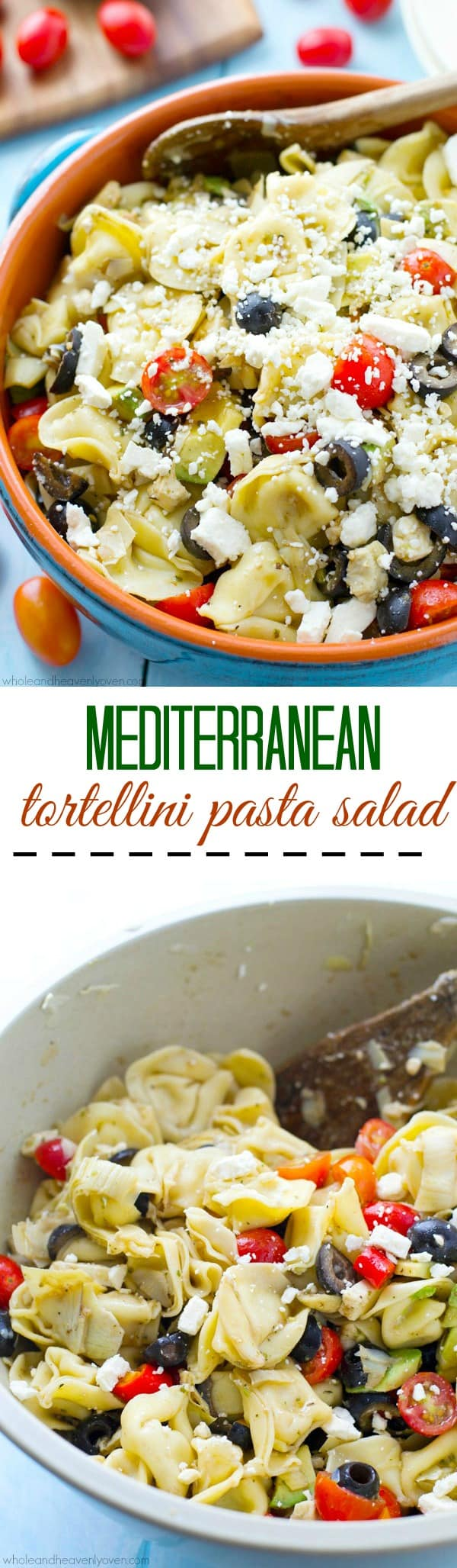 Bring this super-fresh tortellini salad to any picnic and watch it disappear! Loaded with a rainbow of Mediterranean ingredients and tossed in a tangy citrus balsamic dressing. @WholeHeavenly