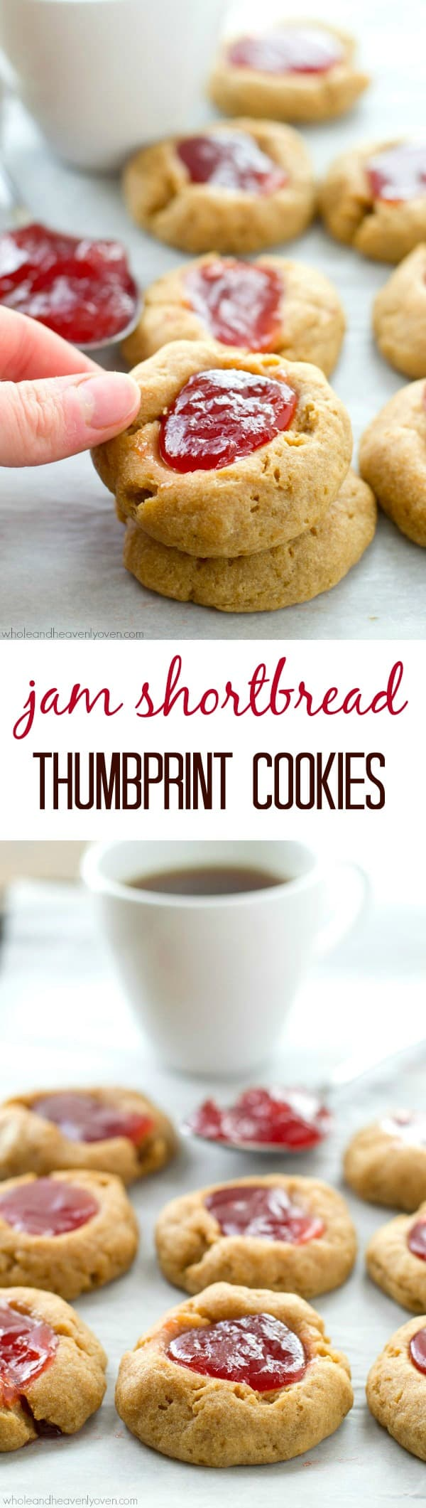 These delicate tea cookies are soft, buttery and filled with lots of fruity jam! They're well-received at any kind of springtime gathering. @WholeHeavenly