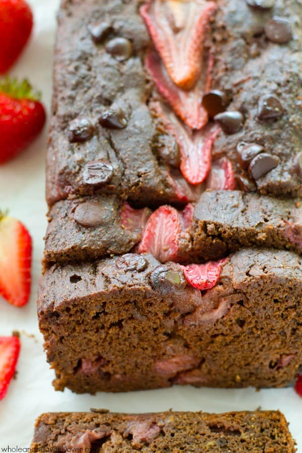 A double-threat of chocolate and juicy strawberries come together in this unbelievably-moist banana bread that the whole family will love.---You can't help but go back for another slice! @WholeHeavenly