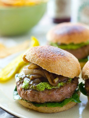These ultimately-juicy turkey burgers will make any summer night a party! A silky spinach whipped feta and plenty of tangy caramelized onions take them over the top in the flavor department.