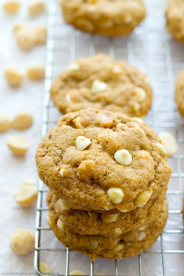 Unbelievably soft inside and loaded with the classic combo of melty white chocolate and buttery macadamia nuts, no one will believe that these cookies are completely butter-free!