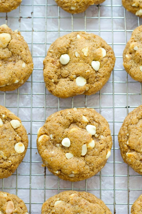 Unbelievably soft inside and loaded with the classic combo of melty white chocolate and buttery macadamia nuts, no one will believe that these cookies are completely butter-free! @WholeHeavenly