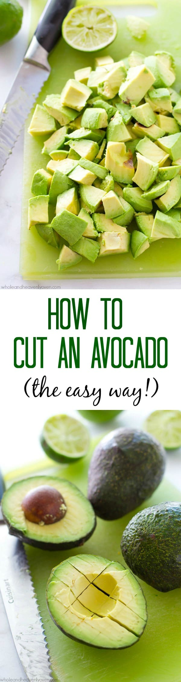 """Learn how to cut an avocado easily and quickly every time with this simple step-by-step photo tutorial! One simple little """"secret"""" revealed that will give you perfectly-cut avocado every time. @WholeHeavenly"""