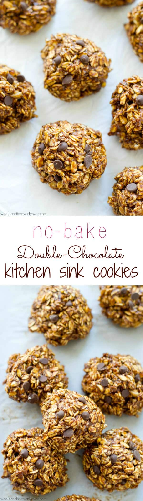 Craving something sweet but don't feel like turning on the oven? These addicting no-bake cookies are loaded with a double-delight of chocolate and just about everything else! @WholeHeavenly