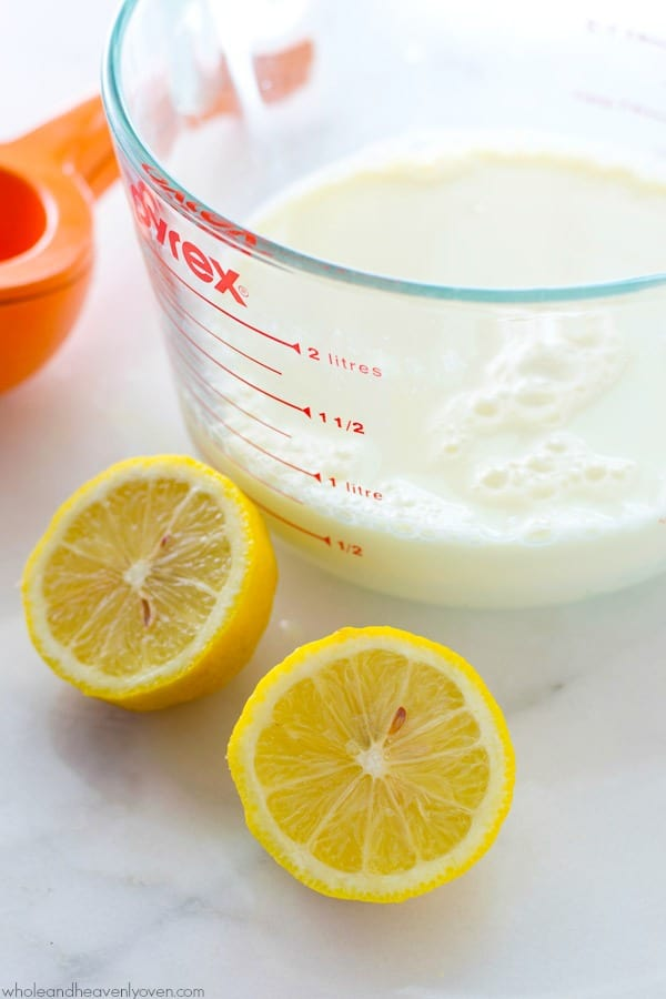 Out of buttermilk? No need to run to the store anymore, when you can easily make your own with only two ingredients in less than ten minutes! @WholeHeavenly