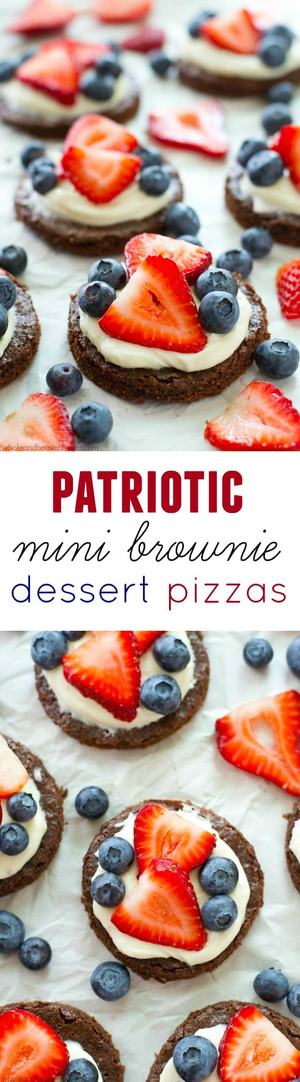 These mini berry-loaded dessert pizzas are going to be a hit at the 4th of July this year! No one will be able to resist the fudgy brownies, luscious cream cheese frosting, and overload of fresh berries. @WholeHeavenly