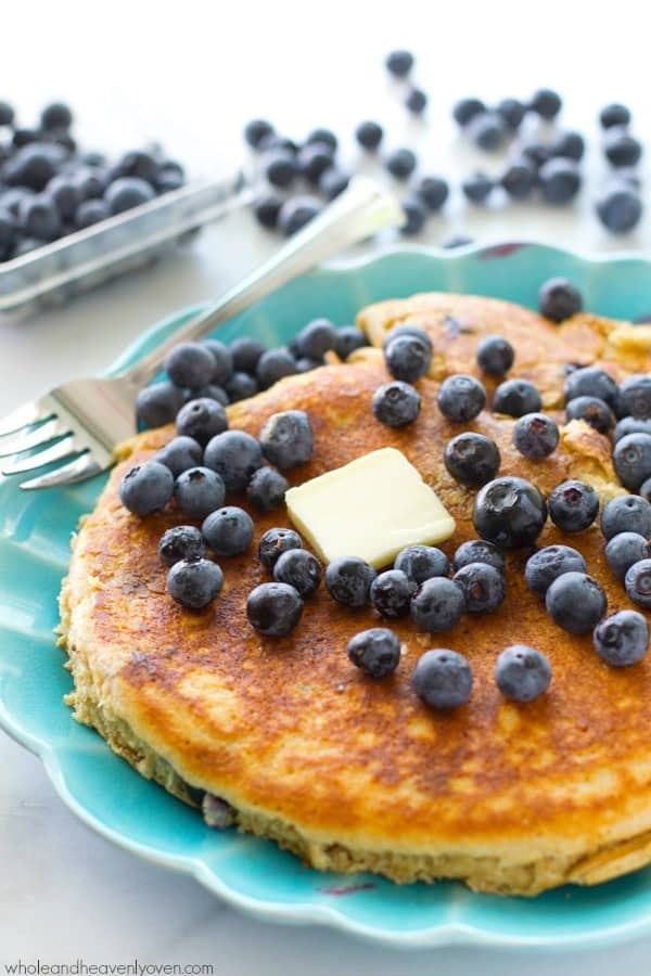 This XXL blueberry pancake is unbelievably moist, fluffy and exploding with juicy blueberries in every bite.---Just big enough for one hungry pancake-lover! @WholeHeavenly