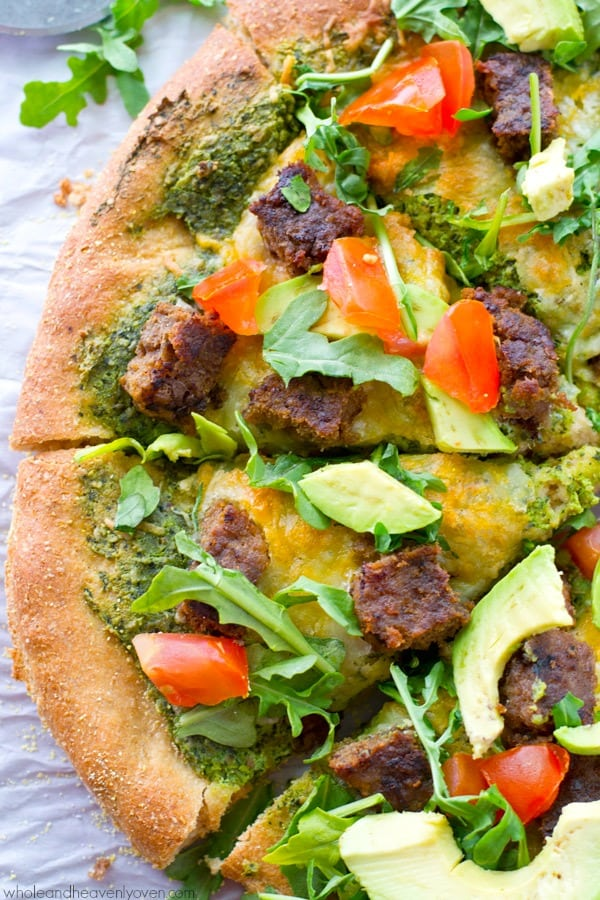 Piled high with summery California-style toppings, juicy grilled burger pieces and lots of cheese, this loaded pizza is perfect for lazy summer nights! @WholeHeavenly
