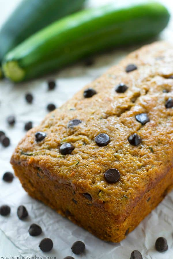 This dark chocolate-loaded zucchini bread is so moist, soft, and perfectly-spiced you would never guess that it's on the healthier side.---You'll want to stock up the freezer with this one! @WholeHeavenly
