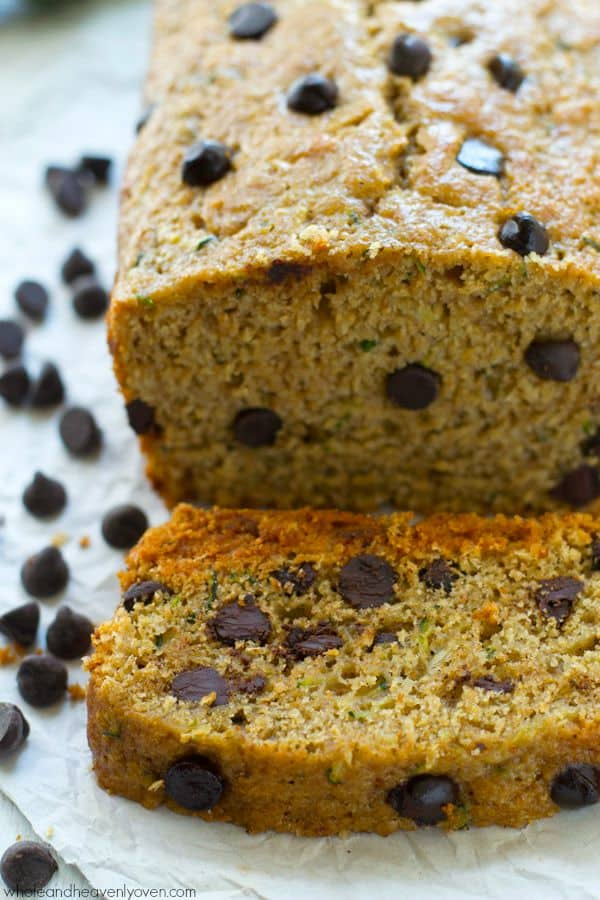 healthy dark chocolate chip zucchini bread