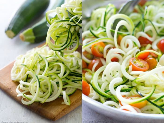 "Made in one pan in only 10 minutes and loaded with Parmesan and sweet cherry tomatoes, these zucchini ""noodles"" are a simple and healthy vegetarian meal you'll want to make again and again! @WholeHeavenly"