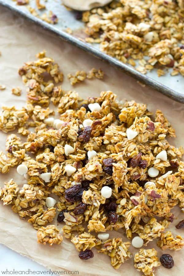 This crisp, cluster-y granola has a delightful fall twist of pumpkin, white chocolate, dried cranberries, and plenty of spice.---You'll want to eat it by the handful! @WholeHeavenly