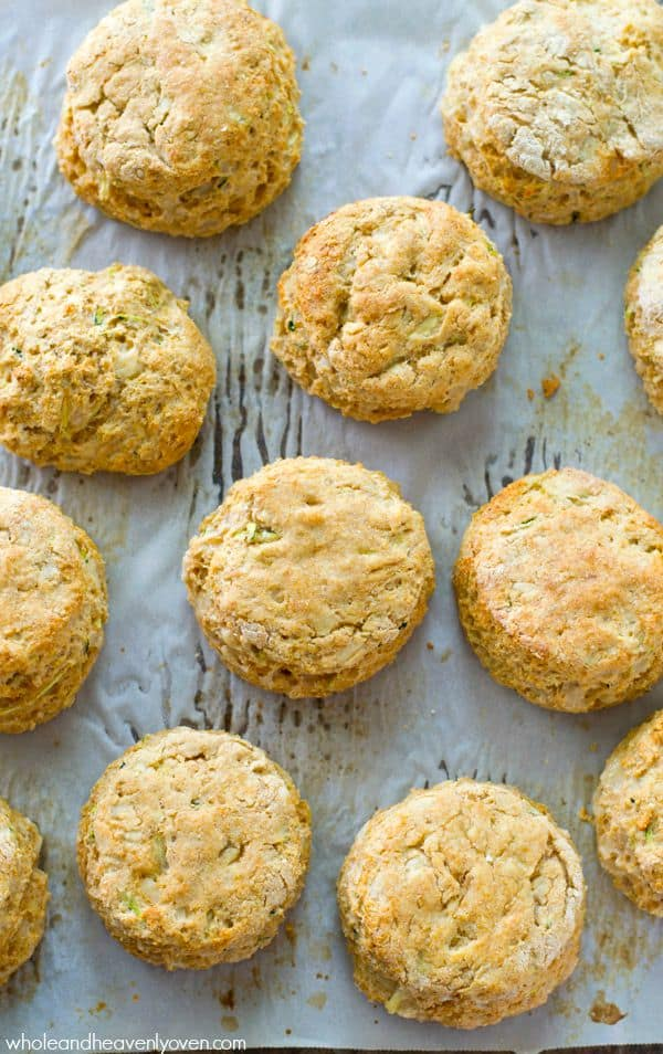 You'd never guess that these ultra-light and flaky buttermilk biscuits are loaded up with shredded zucchini! Paired with nutty Parmesan cheese and an unmistakable buttery flavor, even zucchini-haters will declare these a keeper! @WholeHeavenly