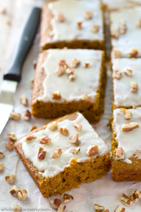 Packed with pumpkin 'n' spices, unbelievably soft inside, and covered with a luscious glaze, these easy cake bars are the perfect way to welcome fall! @WholeHeavenly