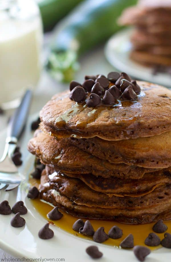 Unbelievably moist and fluffy and loaded with a double-delight of chocolate, nobody will ever guess that there's zucchini hiding inside these dynamite pancakes!