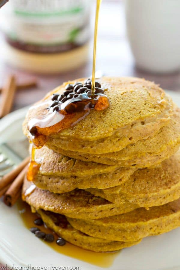 Coconut oil and buttermilk are the keys to what makes these pancakes so perfect! Loaded with tons of falls spices and pumpkin, you'll never find a more fluffy and ultra-soft pancake in the world! @WholeHeavenly