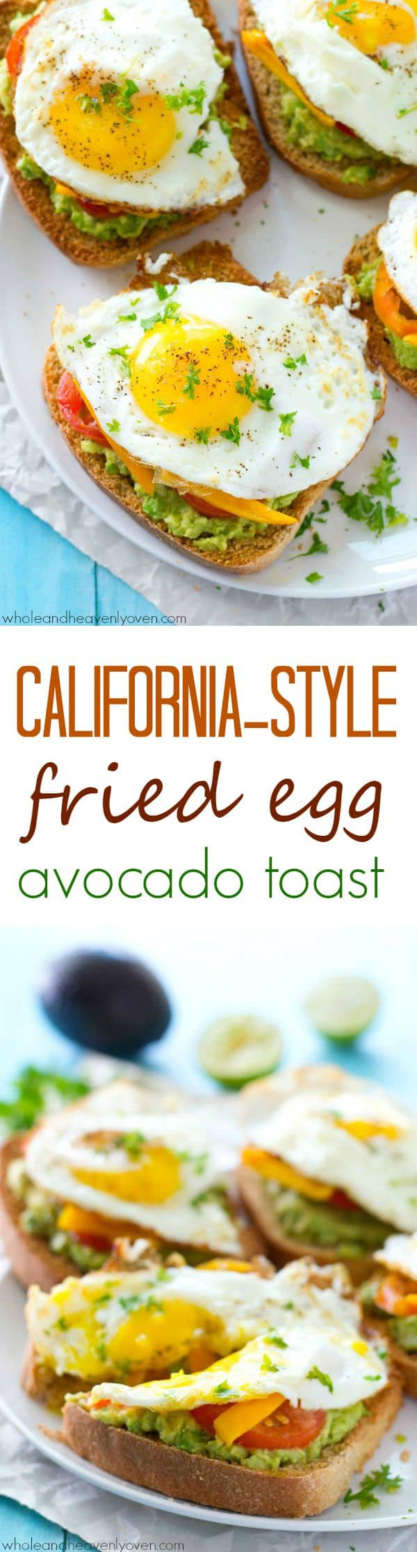 Avocado toast is given a fun California-style twist! This ultimate breakfast toast is piled with lots of smashed avocado, fresh veggies, and a beautiful fried egg on top. @WholeHeavenly