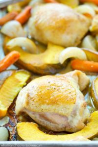 This comforting roast chicken is brushed with an unbelievable maple-mustard sauce and roasted to perfection with fall veggies.--- So easy to throw together and loaded with so many cozy flavors!