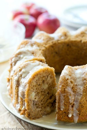 Drizzled with tons of glaze and incredibly soft and filled with soft apple chunks inside, this stunning bundt cake will impress everyone you serve it to!