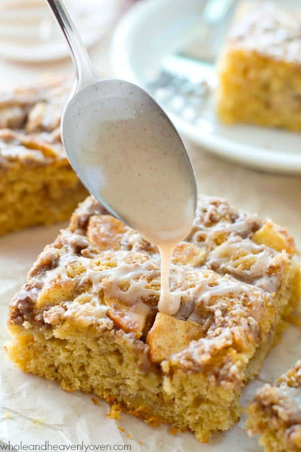 Unbelievably moist and loaded with apples, plenty of streusel, and glaze, you'll definitely savor every last crumb of this ultimate fall coffee cake! @WholeHeavenly